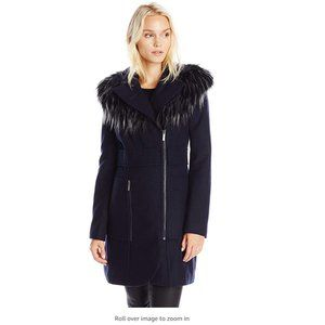 French Connection  Zippered Coat w Removable Fur